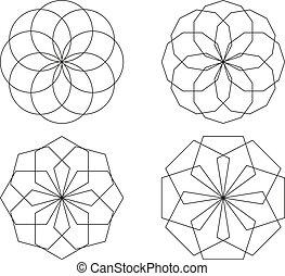 círculos, jogo, isolado, símbolos, feito, 4, polígonos