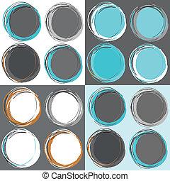 círculos, padrão, seamless, retro