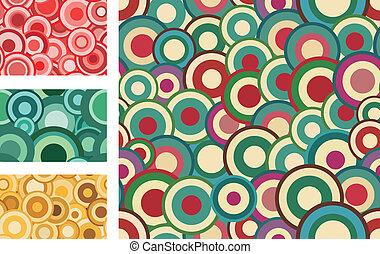 círculos, seamless, cobrança, padrões, vetorial, retro