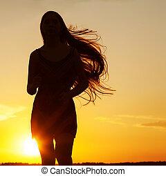 c, mulher, beleza, liberdade, nature., livre, menina, desfrutando, outdoor., feliz
