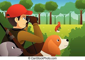 caçador, seu, raposa, cão, caça