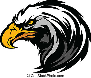 cabeça, águia, mascote, gráfico