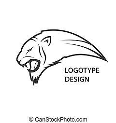 cabeça, abstratos, tiger, desenho, logotipo, ícone