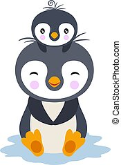 cabeça, bebê, pingüim, mãe