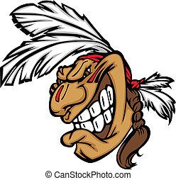 cabeça, bravos, indianas, sorrindo, vetorial, caricatura, mascote