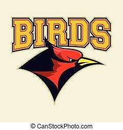 cabeça, cardeal, pássaro, vermelho