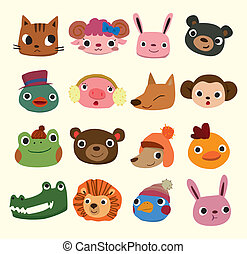cabeça, caricatura, ícones animais