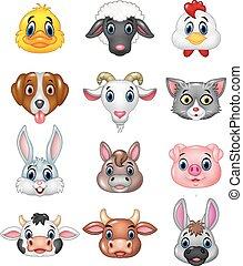cabeça, caricatura, feliz, animal