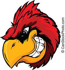 cabeça, caricatura, pássaro, cardeal, ou, vermelho