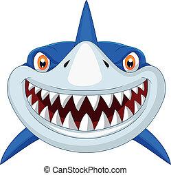 cabeça, caricatura, tubarão