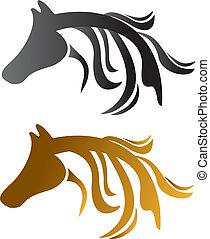 cabeça, cavalos, pretas, marrom
