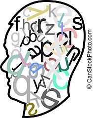 cabeça, cheio, letras