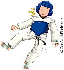 cabeça, chutado, judo, luta, durante, lutador, macho