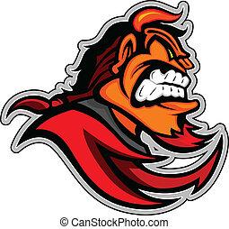 cabeça, diabo, demônio, ilustração, vetorial, vermelho, mascote