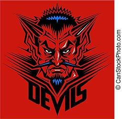 cabeça, diabo, mascote