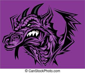 cabeça, dragão, mascote