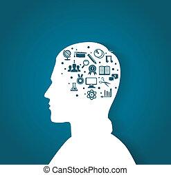 cabeça, educação, homem, ícones