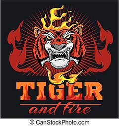 cabeça, fogo, -, ilustração, mão, tiger, vetorial