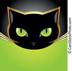 cabeça, gato preto