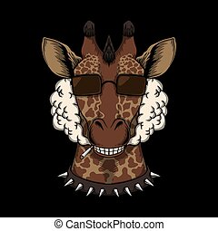 cabeça, girafa, vetorial, ilustração, fumaça