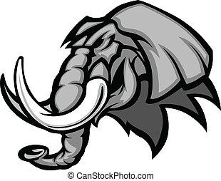 cabeça, gráfico, elefante, mascote