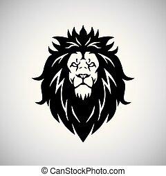 cabeça, ilustração, leão, vetorial, logotipo, mascote