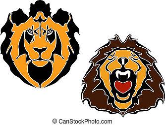 cabeça, leões, caricatura
