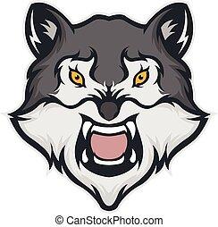 cabeça, lobo, mascote