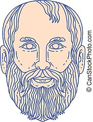 cabeça, mono, plato, filósofo, grego, linha