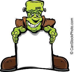 cabeça, monstro, imagem, dia das bruxas, sinal, vetorial, segurando, frankenstein, caricatura, feliz