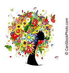 cabeça, mulher, folha, penteado, quatro estações, flores, desenho