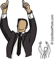 cabeça, seu, doodle, mostrando, linhas, isolado, ilustração, cima, vetorial, pretas, dois, fundo, homem negócios, desenhado, branca, mão, esboço, sobre, polegares