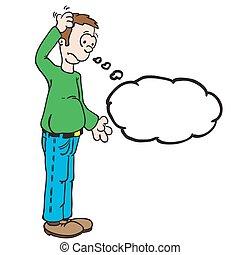 cabeça, seu, pensamento, arranhando, bolha, homem