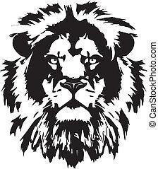 cabeça, tatuagem, leão, pretas