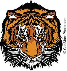 cabeça, tiger, mascote, gráfico