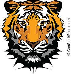 cabeça, tiger, vetorial, mascote, gráfico