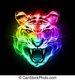 cabeça tigre, coloridos, fire.
