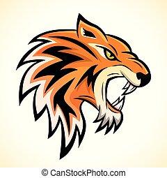 cabeça tigre, conceito, vetorial, mascote