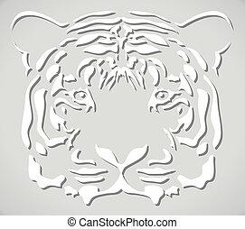 cabeça tigre, papel, vetorial