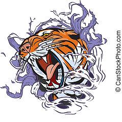 cabeça tigre, rasgando, fundo, saída