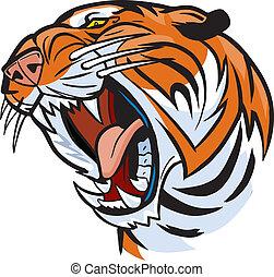 cabeça tigre, rugindo, caricatura, vetorial