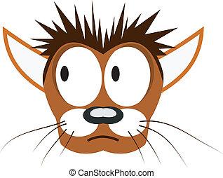 cabeça, vetorial, caricatura, ilustração, gato