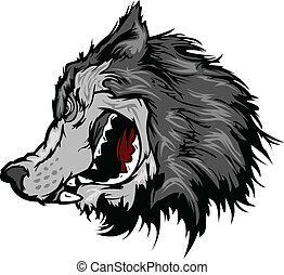 cabeça, vetorial, lobo, caricatura, mascote