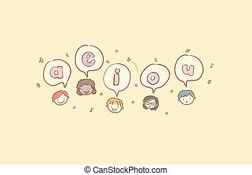 cabeças, stickman, crianças, vogais, ilustração