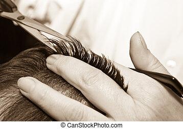 cabelo, close-up, corte