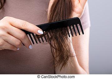 cabelo, close-up, mulher, combing, dela
