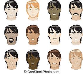 cabelo, direito, faces homens