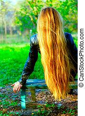 cabelo, espantoso, mulher, longo