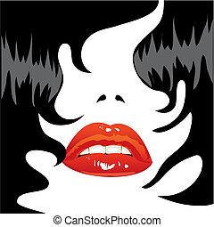 cabelo, excitado, lábios, pretas