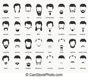 cabelo, faiths, diferente, barbas